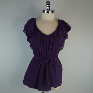 BCBGMaxAzria Solid Purple Blouse Top Large